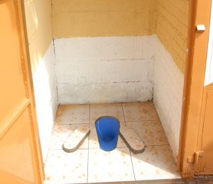 Pit latrine upgraded with a Sato Pan